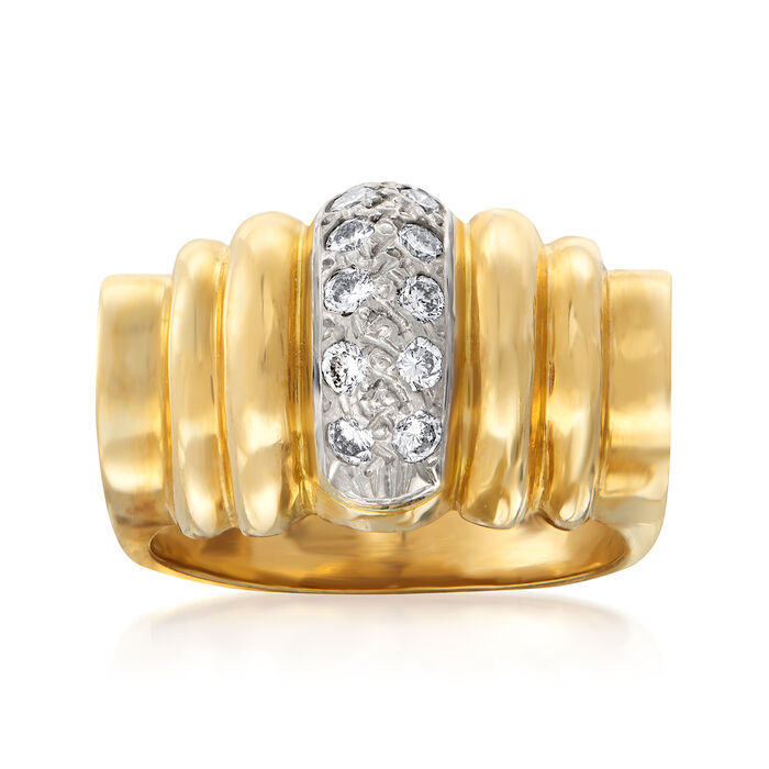 C. 1980 Vintage .30 ct. t.w. Diamond-Center Dome Ring in 14kt Yellow Gold. Size 6.5