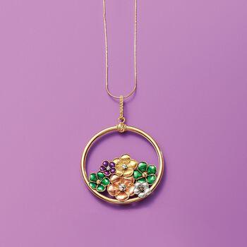 Italian 18kt Multicolored Gold Flower Pendant, , default