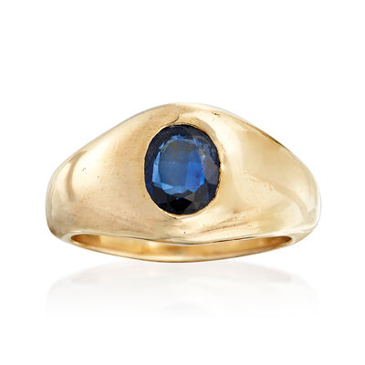C. 1980 Vintage 1.25 Carat Sapphire Ring in 18kt Yellow Gold, , default