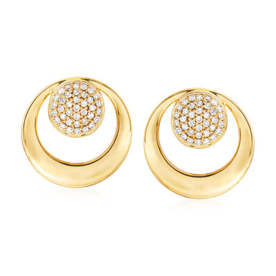 .15 ct. t.w. Pave Diamond Double-Circle Earrings in 14kt Yellow Gold, , default