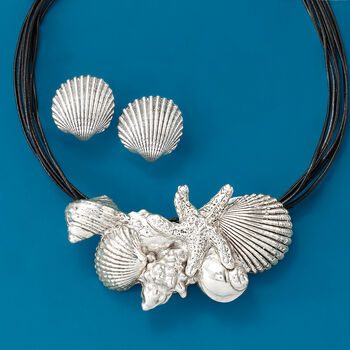 """Sterling Silver and Black Leather Starfish and Seashells Necklace. 18"""", , default"""