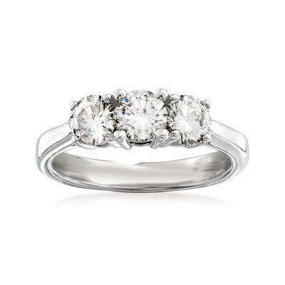 C. 2000 Vintage 1.05 ct. t.w. Diamond Three-Stone Ring in 14kt White Gold, , default