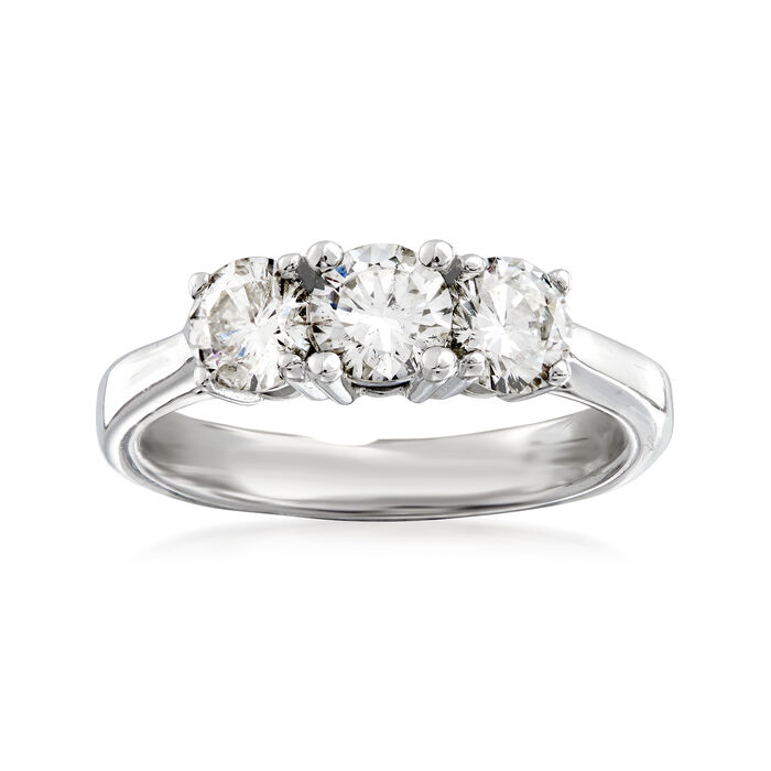 C. 2000 Vintage 1.05 ct. t.w. Diamond Three-Stone Ring in 14kt White Gold. Size 5.25
