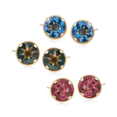 6.60 ct. t.w. Set of Three Multicolored Mystic Quartz Stud Earrings in 14kt Yellow Gold , , default