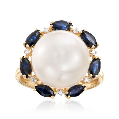 12.5-13mm Cultured Button Pearl and 1.40 ct. Sapphire Ring with Diamond Accents in 14kt Yellow Gold, , default