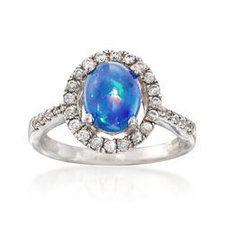 Blue Opal and .43 ct. t.w. White Topaz Ring in Sterling Silver, , default