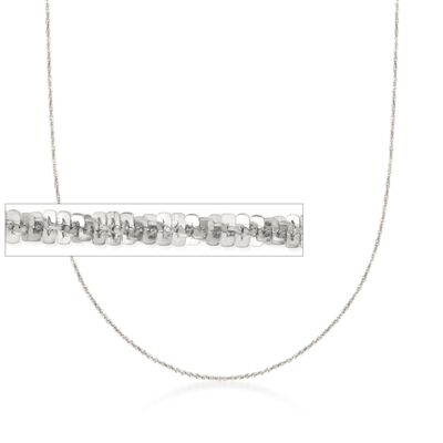Italian 1.5mm Sterling Silver Adjustable Slider Crisscross Chain Necklace, , default