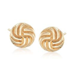 14kt Yellow Gold Swirl Button Stud Earrings, , default