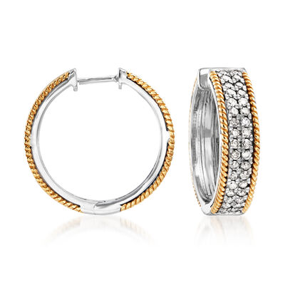 1.00 ct. t.w. Diamond Hoop Earrings in Sterling Silver and 14kt Yellow Gold