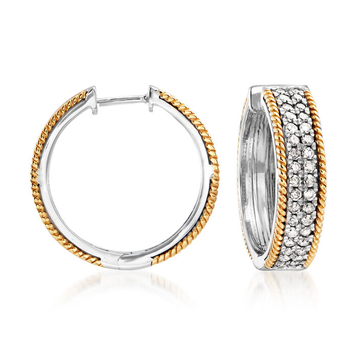 1.00 ct. t.w. Diamond Hoop Earrings in Sterling Silver and 14kt Yellow Gold. 3/4""