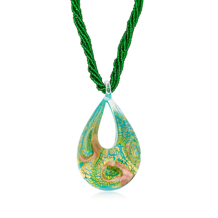 Italian Murano Glass Six-Strand Bead Necklace in 18kt Gold Over Sterling, , default