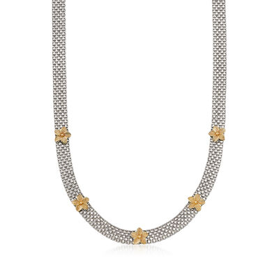 Bismark-Link Flower Station Necklace in Sterling Silver and 14kt Yellow Gold, , default