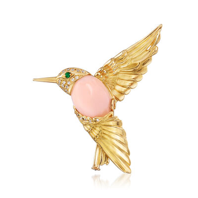 C. 1980 Vintage Pink Opal and .14 ct. t.w. Diamond Hummingbird Pin in 18kt Yellow Gold with Emerald Accents, , default