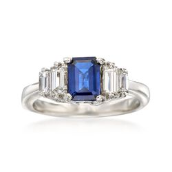 C. 1990 Vintage .90 Carat Sapphire and .70 ct. t.w. Diamond Ring in Platinum. Size 6, , default
