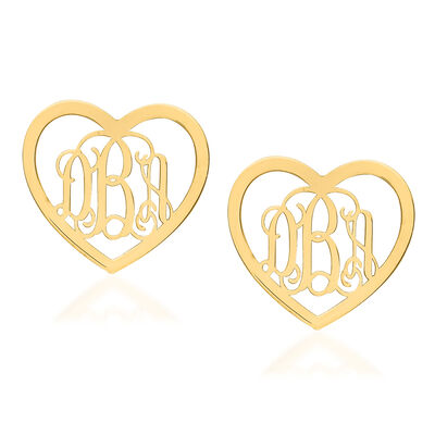 14kt Yellow Gold Small Laser Polished Heart Monogram Post Earrings, , default