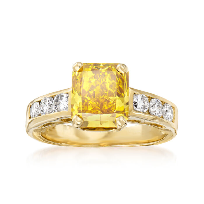 C. 2000 Vintage 2.50 Carat Certified Yellow Diamond and .50 ct. t.w. White Diamond Ring in 14kt Yellow Gold