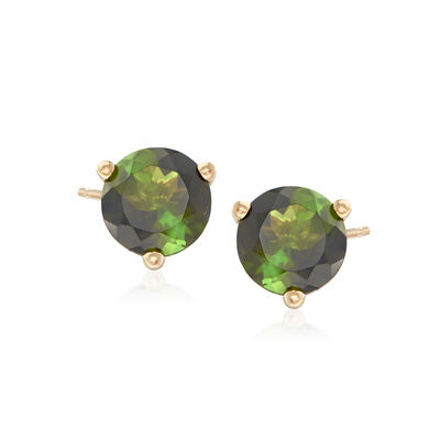 1.70 ct. t.w. Green Tourmaline Stud Earrings in 14kt Yellow Gold, , default