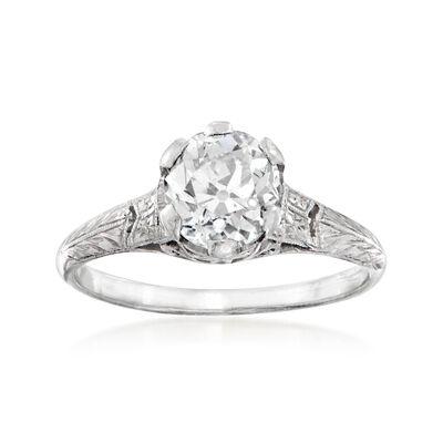 C. 1950 Vintage 1.45 Carat Diamond Ring in Platinum, , default