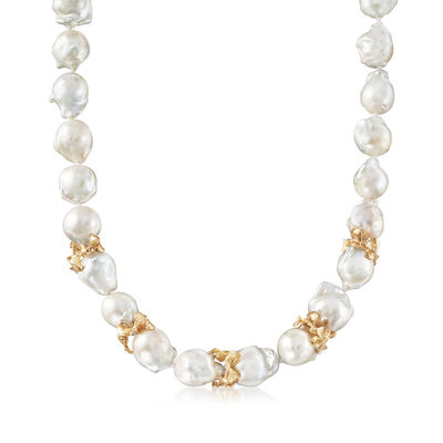 Italian 12-13mm Cultured Freshwater Baroque Pearl Necklace with 18kt Gold Over Sterling Spacers, , default