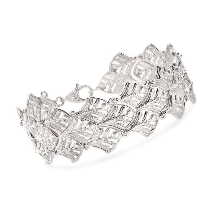 "Italian Sterling Silver Leaf-Link Bracelet. 8.25"""