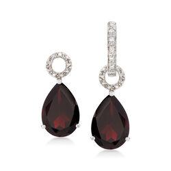 7.00 ct. t.w. Garnet Pear-Shaped Earring Charms in Sterling Silver, , default