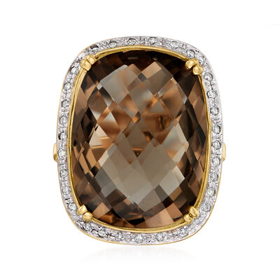20.00 Carat Smoky Quartz and .18 ct. t.w. Diamond Ring in 14kt Yellow Gold
