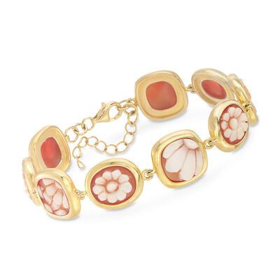 Italian Floral Cameo Shell Bracelet in 18kt Yellow Gold Over Sterling Silver, , default