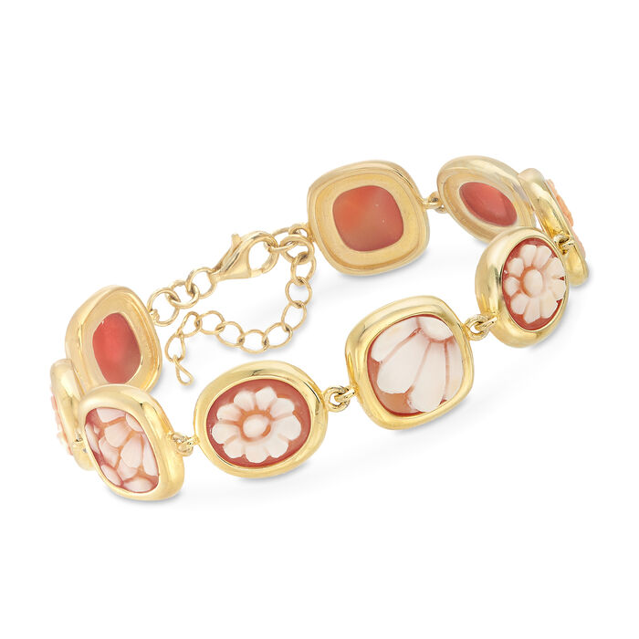Italian Floral Cameo Shell Bracelet in 18kt Yellow Gold Over Sterling Silver