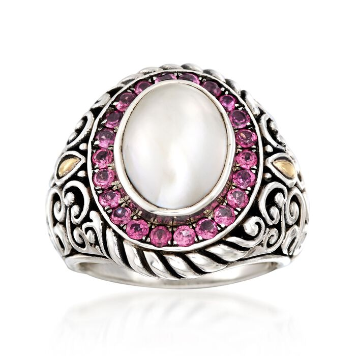 10-14mm Cultured Mabe Pearl Balinese Ring with 1.10 ct. t.w. Rhodolite Garnets in Sterling Silver and 18kt Gold. Size 9