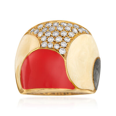 C. 1980 Vintage .65 ct. t.w. Diamond and Multicolored Enamel Ring in 18kt Yellow Gold, , default
