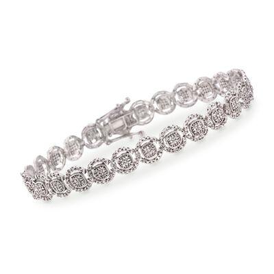1.00 ct. t.w. Pave Diamond Halo Bracelet in 14kt White Gold, , default