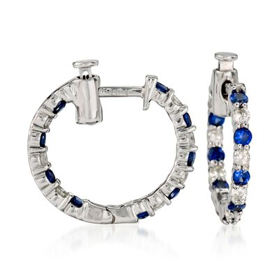 .70 ct. t.w. Sapphire and .35 ct. t.w. Diamond Hoop Earrings in 14kt White Gold, , default