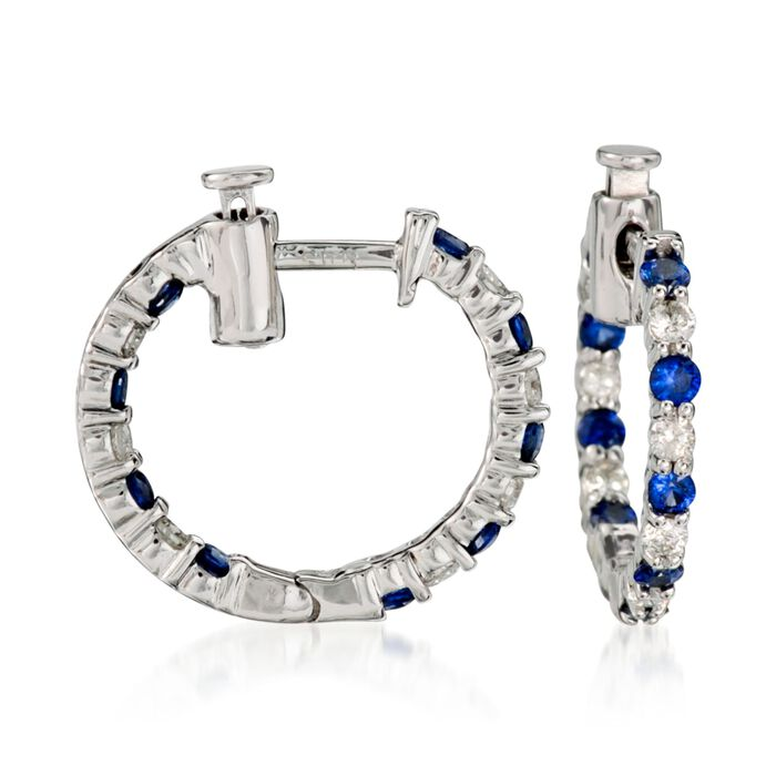 """.70 ct. t.w. Sapphire and .35 ct. t.w. Diamond Hoop Earrings in 14kt White Gold. 5/8"""", , default"""