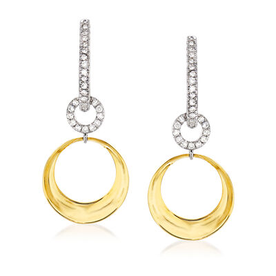 .15 ct. t.w. Diamond Circle Drop Earrings in 14kt Two-Tone Gold