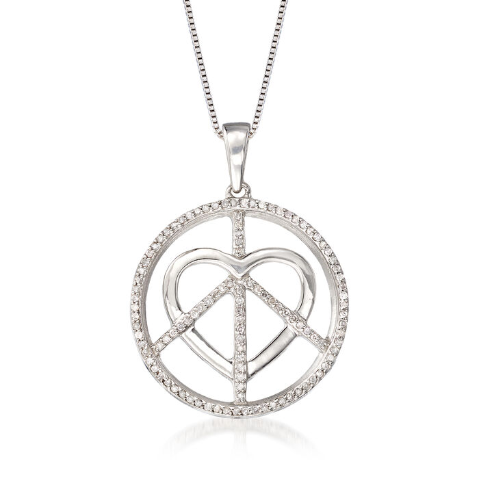 .33 ct. t.w. Diamond Peace and Love Pendant Necklace in Sterling Silver