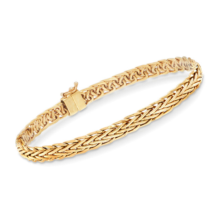 18kt Yellow Gold Wheat-Link Bracelet with Magnetic Clasp, , default