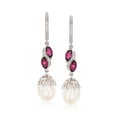 9-9.5mm Cultured Pearl, 1.20 ct. t.w. Rhodolite Garnet and .15 ct. t.w. Diamond Drop Hoop Earrings in Sterling Silver, , default