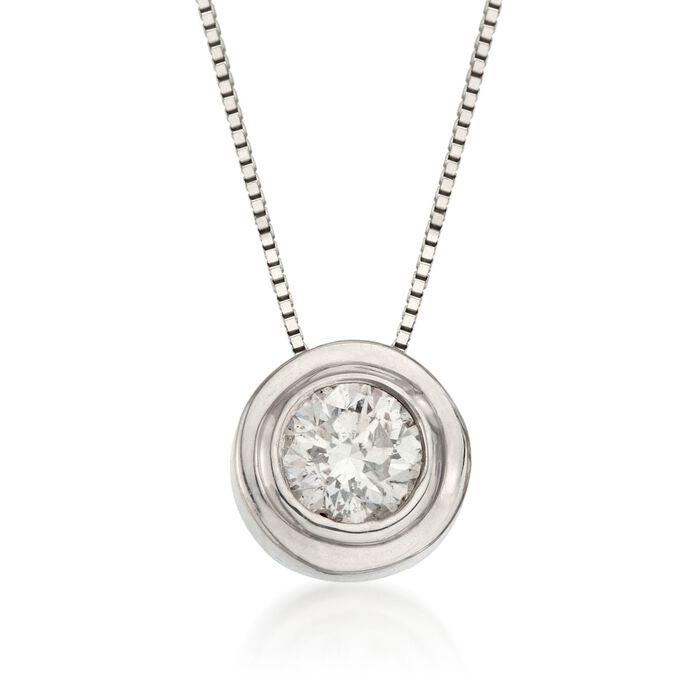""".50 Carat Bezel-Set Diamond Solitaire Necklace in 14kt White Gold. 18"""", , default"""