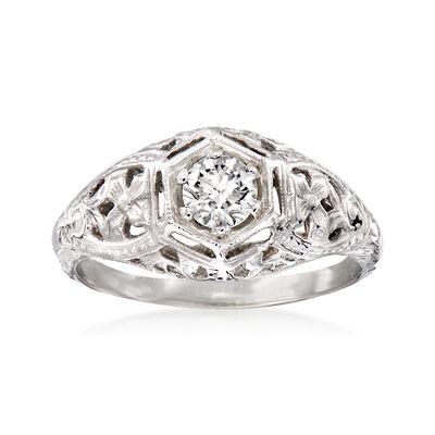 C. 2000 Vintage .40 Carat Diamond Filigree Ring in 14kt White Gold