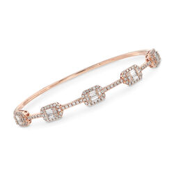 C. 2000 Vintage 1.85 ct. t.w. Baguette and Round Diamond Bangle Bracelet in 18kt Rose Gold. Bng, , default