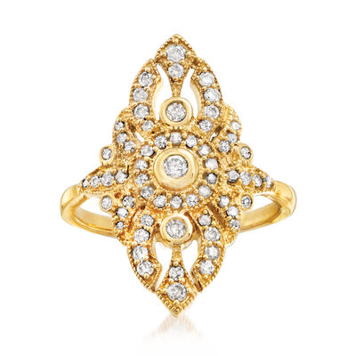 .50 ct. t.w. Diamond Openwork Ring in 18kt Gold Over Sterling