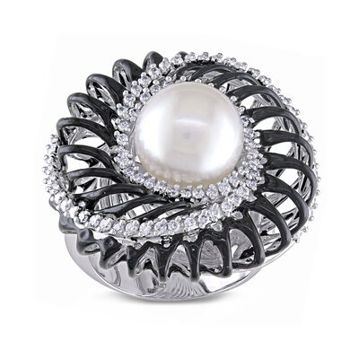 10.5-11mm Cultured South Sea Pearl and .67 ct. t.w. Diamond Cocktail Ring with Black Rhodium in 18kt White Gold, , default
