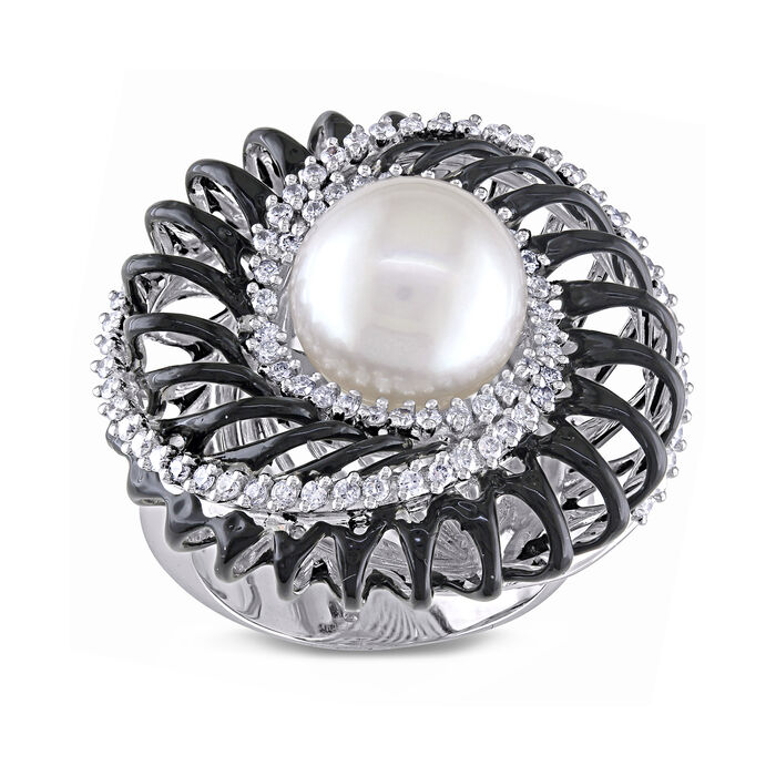 10.5-11mm Cultured South Sea Pearl and .67 ct. t.w. Diamond Cocktail Ring with Black Rhodium in 18kt White Gold