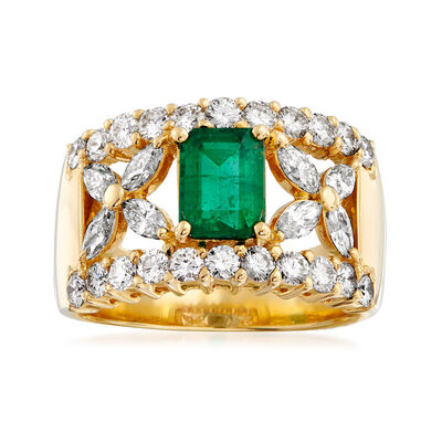 C. 1980 Vintage 1.45 ct. t.w. Diamond and .90 Carat Emerald Ring in 18kt Yellow Gold