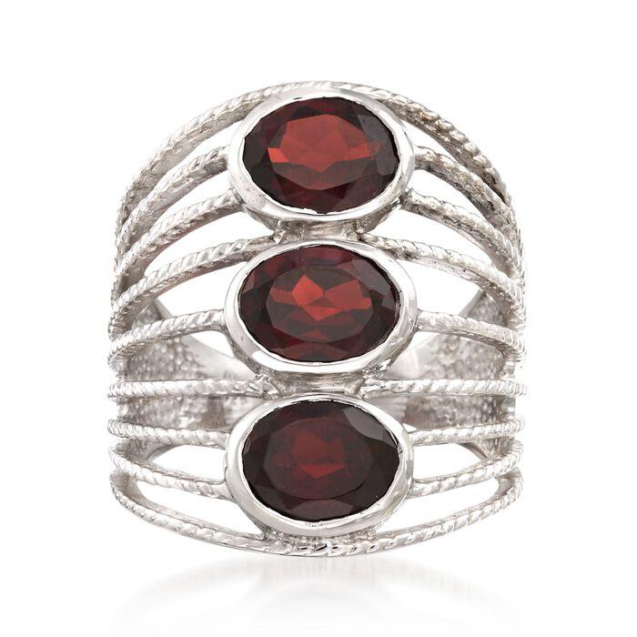 4.60 ct. t.w. Garnet Multi-Row Ring in Sterling Silver