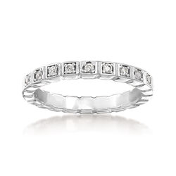 Italian .10 ct. t.w. CZ Squared Ring in Sterling Silver, , default