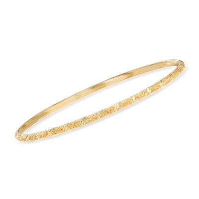 Italian 14kt Yellow Gold Diamond-Cut Bangle Bracelet