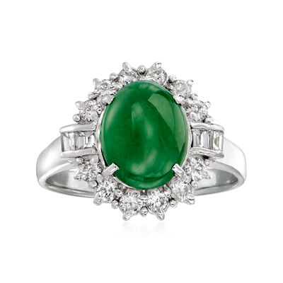 C. 1980 Vintage Jade and .36 ct. t.w. Diamond Ring in Platinum
