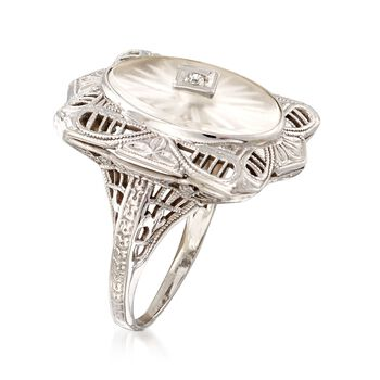 C. 1950 Vintage Rock Crystal Filigree Ring with Diamond Accents in 14kt White Gold. Size 4, , default