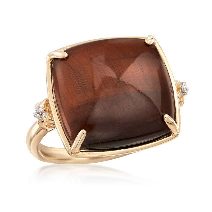 Tiger's Eye Ring with Diamond Accents in 14kt Yellow Gold